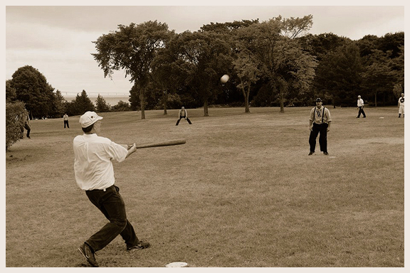 Vintage baseball batting